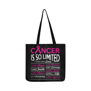 Cancer Cannot Cripple Love Breast Cancer Awareness Grocery Reusable Produce Bags-One Size-Black-JoyHip.Com
