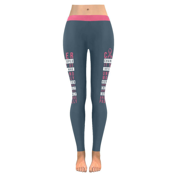 Cancer Changes People Understand More Deeply Breast Cancer Pink Ribbon Leggings-JoyHip.Com