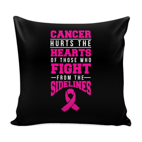 Cancer Hearts Fight Sidelines V2 Cool Awesome Unique Breast Cancer Awareness Pink Ribbon Decorative Throw Pillow Cases Cover(9 Colors)-Pillows-Black-JoyHip.Com