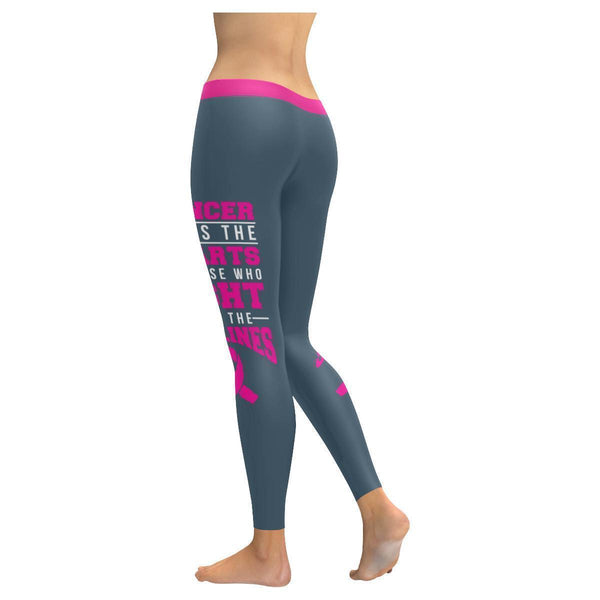 Cancer Hurt The Hearts Fight Sidelines Breast Cancer Pink Ribbon Womens Leggings-JoyHip.Com