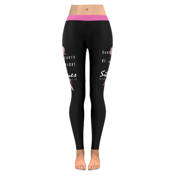 Cancer Hurts The Hearts Fight Sidelines Breast Cancer Pink Ribbon UPF40 Leggings-JoyHip.Com