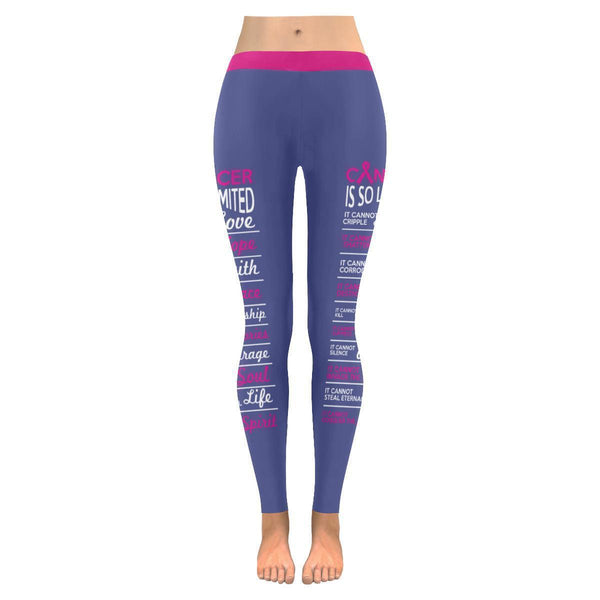 Cancer Is So Limited Breast Cancer Awareness Pink Ribbon UPF40+ Womens Leggings-JoyHip.Com