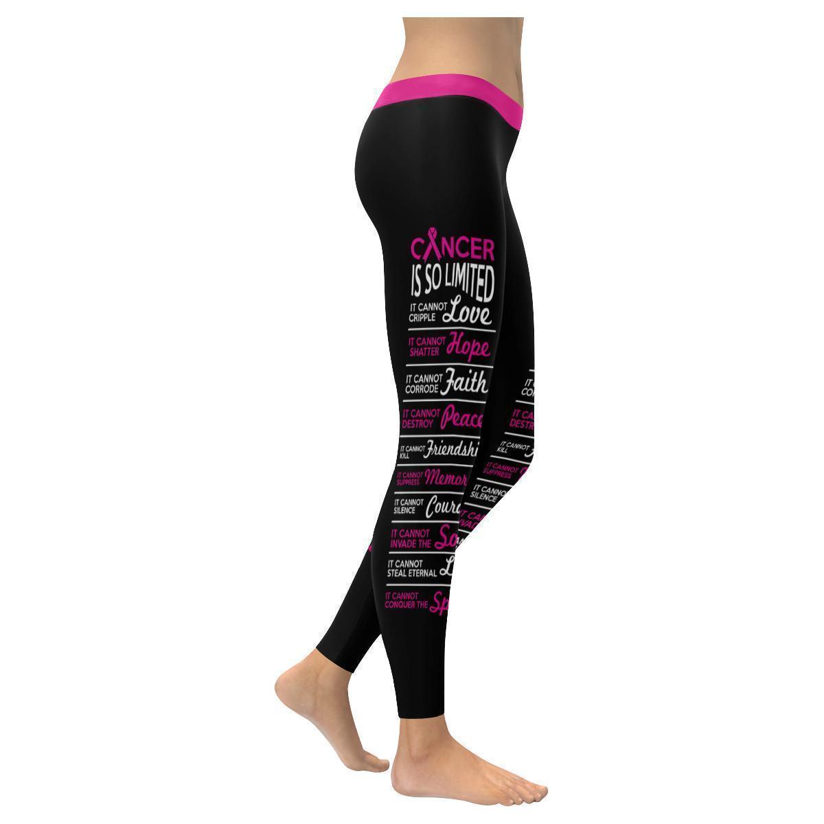 Cancer Is So Limited Breast Cancer Awareness Pink Ribbon UPF40+ Womens Leggings-XXS-Black-JoyHip.Com