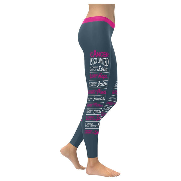 Cancer Is So Limited Breast Cancer Awareness Pink Ribbon UPF40+ Womens Leggings-XXS-Grey-JoyHip.Com
