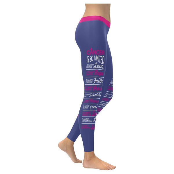 Cancer Is So Limited Breast Cancer Awareness Pink Ribbon UPF40+ Womens Leggings-XXS-Orchid-JoyHip.Com
