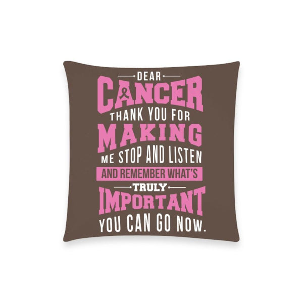 "Cancer Making Important Breast Cancer Awareness Pink Ribbon Pillow Case No Zipper 18""x18"" (8 colors)-One Size-Brown-JoyHip.Com"