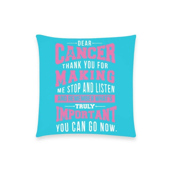 "Cancer Making Important Breast Cancer Awareness Pink Ribbon Pillow Case No Zipper 18""x18"" (8 colors)-One Size-Turquoise-JoyHip.Com"