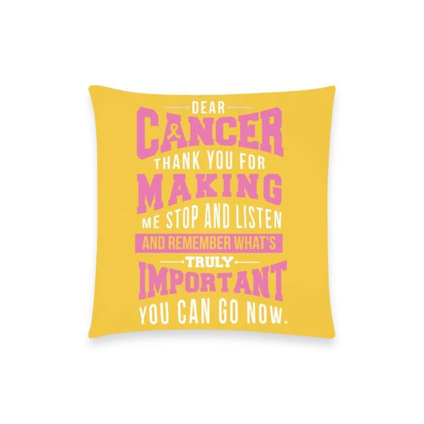 "Cancer Making Important Breast Cancer Awareness Pink Ribbon Pillow Case No Zipper 18""x18"" (8 colors)-One Size-Yellow-JoyHip.Com"