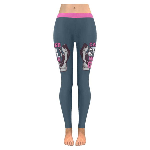 Cancer Messed With The Wrong Girl Breast Cancer Pink Ribbon UPF40 Women Leggings-JoyHip.Com