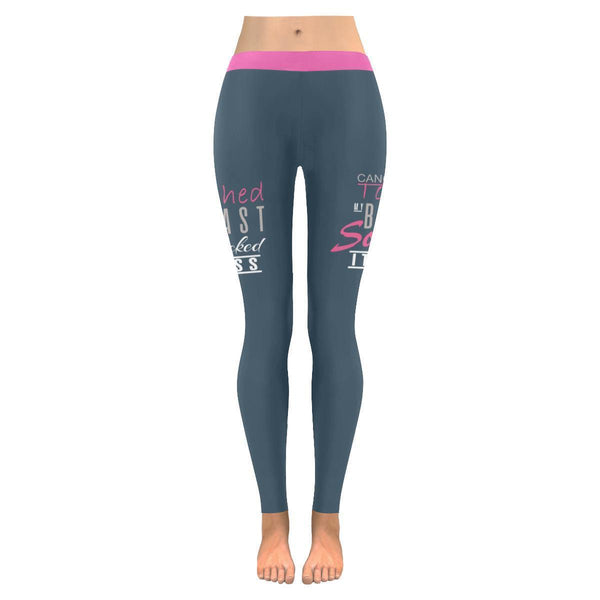 Cancer Touched My Breast So I Kicked Its Ass Breast Cancer Pink Ribbon Leggings-JoyHip.Com