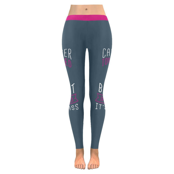 Cancer Touched My Breast So I Kicked Its Ass Breast Cancer Pink Womens Leggings-JoyHip.Com