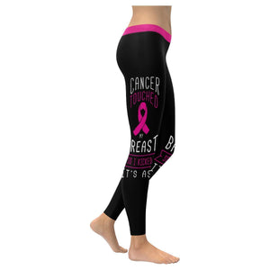 Cancer Touched My Breast So I Kicked Its Ass Breast Cancer Pink Womens Leggings-XXS-Black-JoyHip.Com