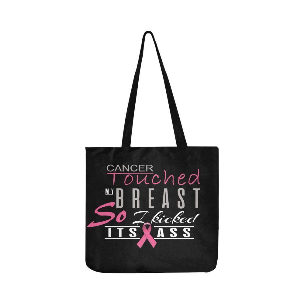 Cancer Touched My Breast So I Kicked Its Ass Breast Cancer Reusable Produce Bags-One Size-Black-JoyHip.Com