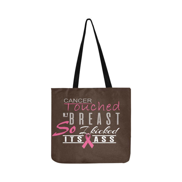Cancer Touched My Breast So I Kicked Its Ass Breast Cancer Reusable Produce Bags-One Size-Brown-JoyHip.Com
