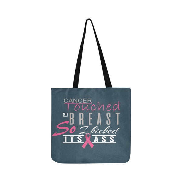 Cancer Touched My Breast So I Kicked Its Ass Breast Cancer Reusable Produce Bags-One Size-Grey-JoyHip.Com