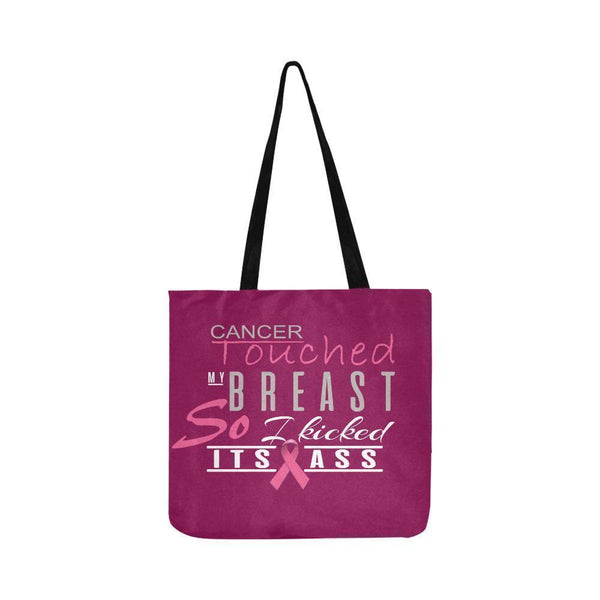Cancer Touched My Breast So I Kicked Its Ass Breast Cancer Reusable Produce Bags-One Size-Maroon-JoyHip.Com