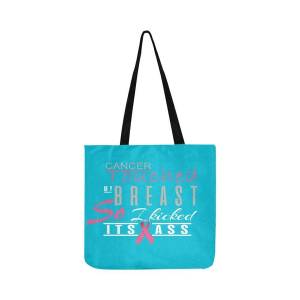 Cancer Touched My Breast So I Kicked Its Ass Breast Cancer Reusable Produce Bags-One Size-Turquoise-JoyHip.Com