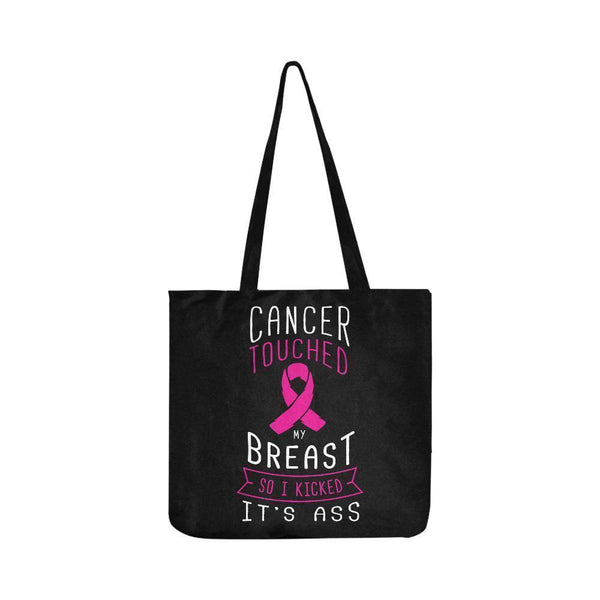 Cancer Touched My Breast So I Kicked Its Ass Reusable Shopping Produce Bags-One Size-Black-JoyHip.Com