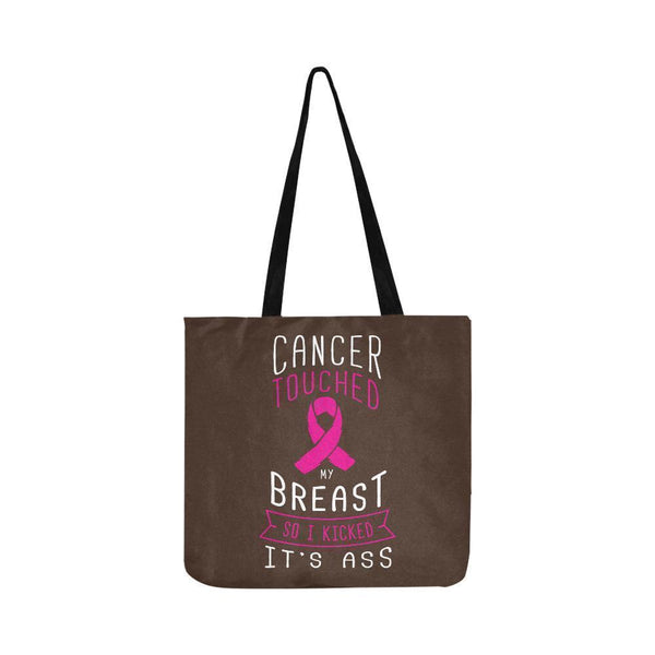 Cancer Touched My Breast So I Kicked Its Ass Reusable Shopping Produce Bags-One Size-Brown-JoyHip.Com