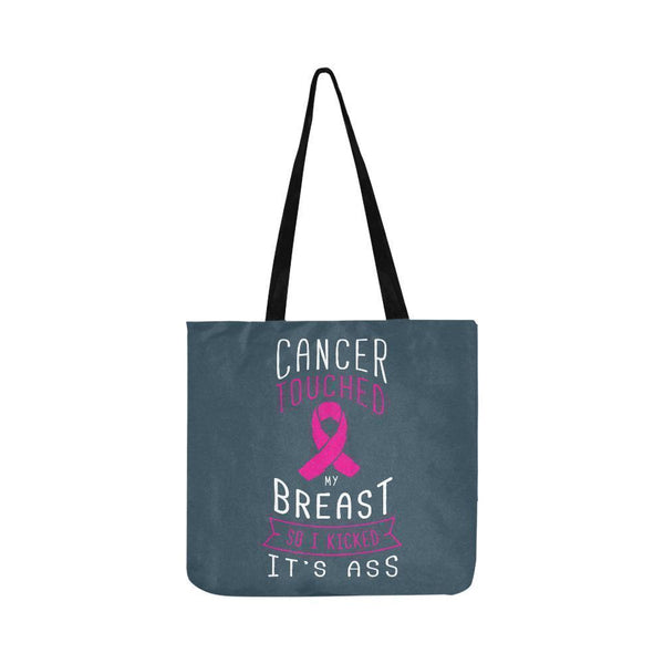 Cancer Touched My Breast So I Kicked Its Ass Reusable Shopping Produce Bags-One Size-Grey-JoyHip.Com