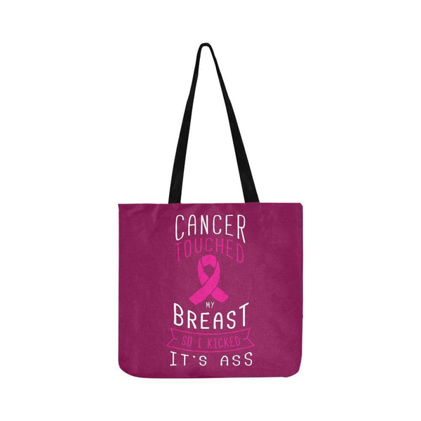 Cancer Touched My Breast So I Kicked Its Ass Reusable Shopping Produce Bags-One Size-Maroon-JoyHip.Com