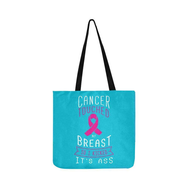 Cancer Touched My Breast So I Kicked Its Ass Reusable Shopping Produce Bags-One Size-Turquoise-JoyHip.Com