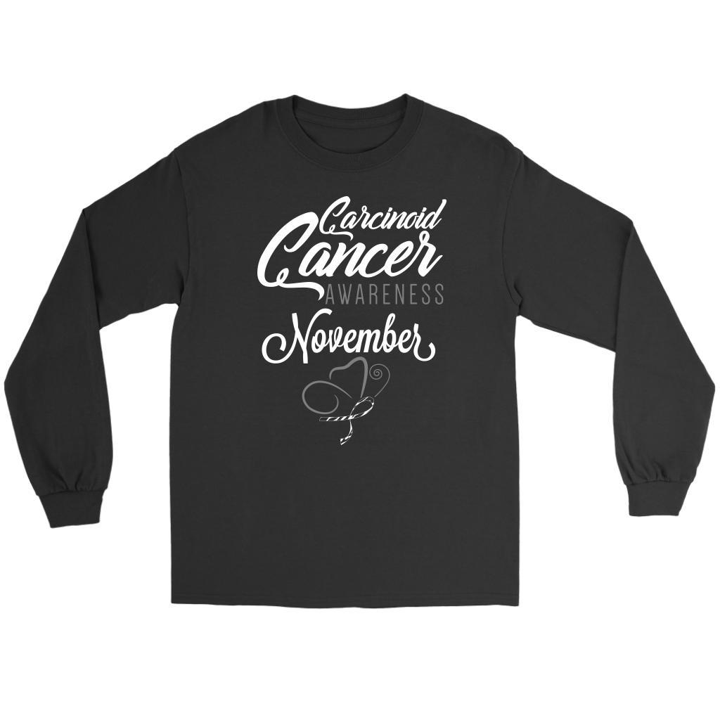 Carcinoid Cancer Awareness November Zebra Stripe Ribbon Gift Ideas Long Sleeve-T-shirt-Gildan Long Sleeve Tee-Black-JoyHip.Com