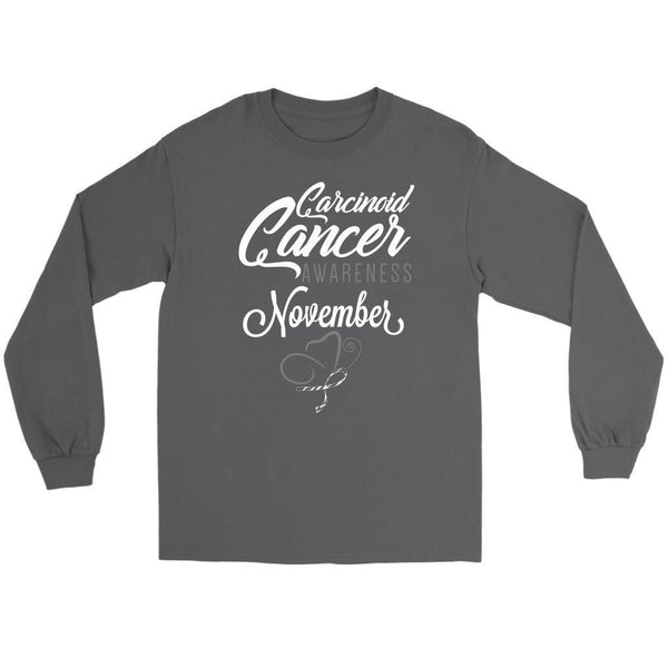 Carcinoid Cancer Awareness November Zebra Stripe Ribbon Gift Ideas Long Sleeve-T-shirt-Gildan Long Sleeve Tee-Grey-JoyHip.Com