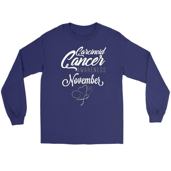 Carcinoid Cancer Awareness November Zebra Stripe Ribbon Gift Ideas Long Sleeve-T-shirt-Gildan Long Sleeve Tee-Purple-JoyHip.Com