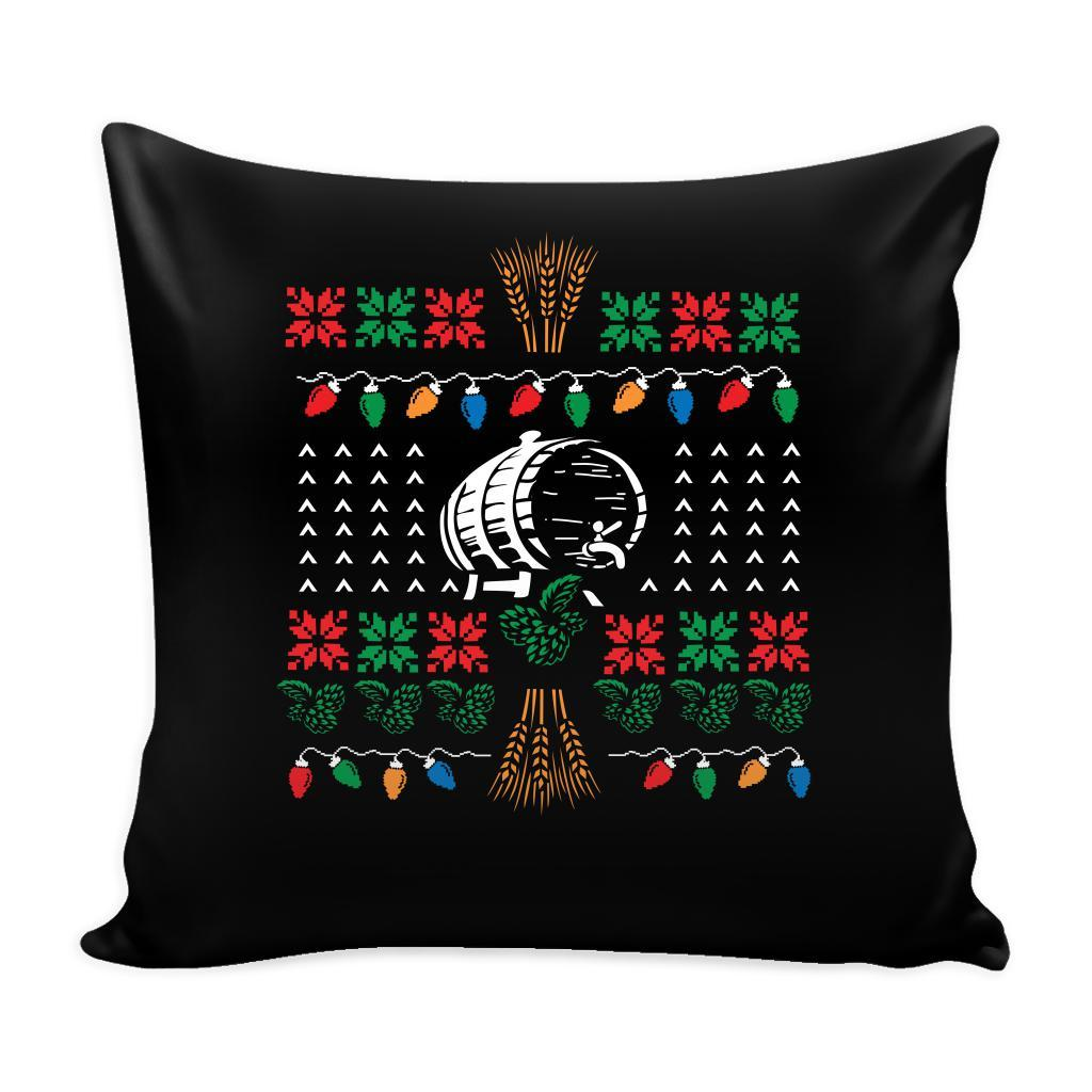 Classic Ugly Holiday Christmas sweater For Craft Brewers & Homebrewers Beer Lover Brewmaster Funny Festive Decorative Throw Pillow Cases Cover(4 Colors)-Pillows-Black-JoyHip.Com
