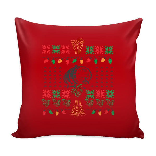 Classic Ugly Holiday Christmas sweater For Craft Brewers & Homebrewers Beer Lover Brewmaster Funny Festive Decorative Throw Pillow Cases Cover(4 Colors)-Pillows-Red-JoyHip.Com
