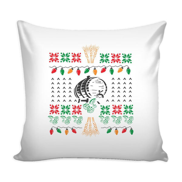 Classic Ugly Holiday Christmas sweater For Craft Brewers & Homebrewers Beer Lover Brewmaster Funny Festive Decorative Throw Pillow Cases Cover(4 Colors)-Pillows-White-JoyHip.Com