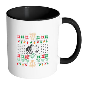 Classic Ugly Holiday Chritmas sweater For Craft Brewers & Homebrewers Beer Lover Brewmaster 11oz Accent Coffee Mug (7 Colors)-Drinkware-Accent Mug - Black-JoyHip.Com