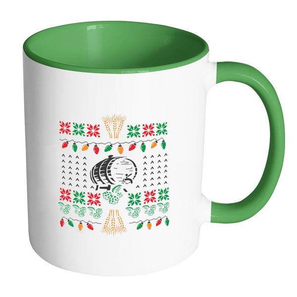 Classic Ugly Holiday Chritmas sweater For Craft Brewers & Homebrewers Beer Lover Brewmaster 11oz Accent Coffee Mug (7 Colors)-Drinkware-Accent Mug - Green-JoyHip.Com