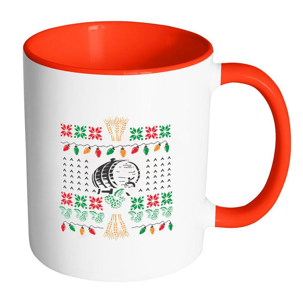 Classic Ugly Holiday Chritmas sweater For Craft Brewers & Homebrewers Beer Lover Brewmaster 11oz Accent Coffee Mug (7 Colors)-Drinkware-Accent Mug - Red-JoyHip.Com