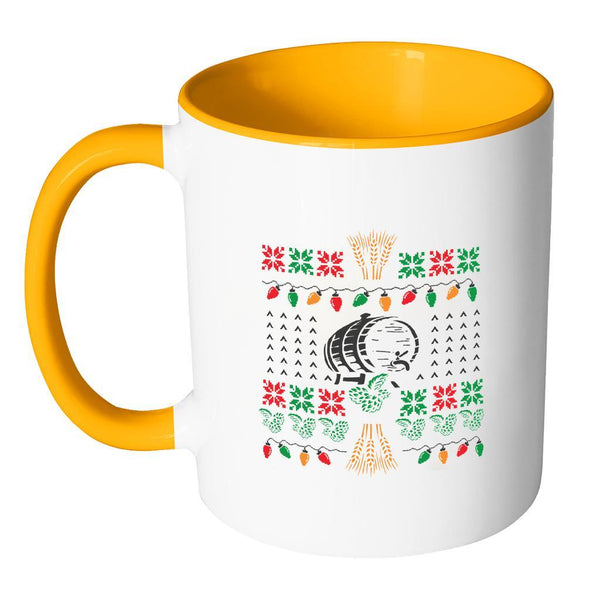 Classic Ugly Holiday Chritmas sweater For Craft Brewers & Homebrewers Beer Lover Brewmaster 11oz Accent Coffee Mug (7 Colors)-Drinkware-JoyHip.Com