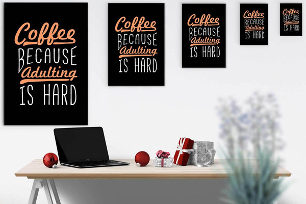 Coffee Because Adulting Is Hard Canvas Wall Art Room Decor Funny Gift Idea Humor-Canvas Wall Art 2-JoyHip.Com