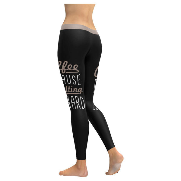 Coffee Because Adulting Is Hard Humor Gag Funny Quotes UPF40+ Womens Leggings-JoyHip.Com