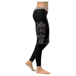 Coffee Because Adulting Is Hard Humor Gag Funny Quotes UPF40+ Womens Leggings-XXS-Black-JoyHip.Com