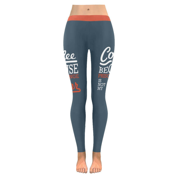 Coffee Because Prison Orange Is Not My Color Humor Funny UPF40+ Womens Leggings-JoyHip.Com