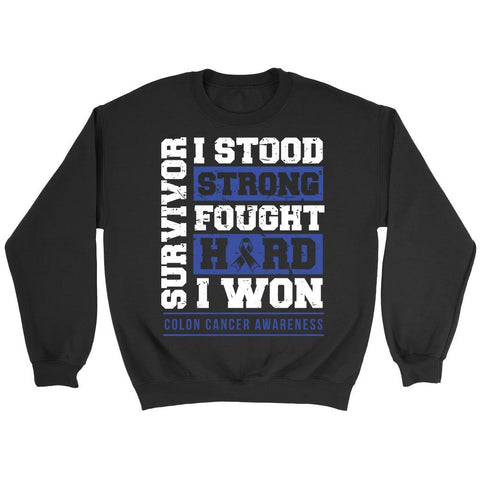 Colorectal Survivor I Stood Strong Fought Hard I Won Colon Cancer Awareness Blue Ribbon Unisex Crewneck Sweatshirt for Women & Men-T-shirt-Crewneck Sweatshirt-Black-JoyHip.Com