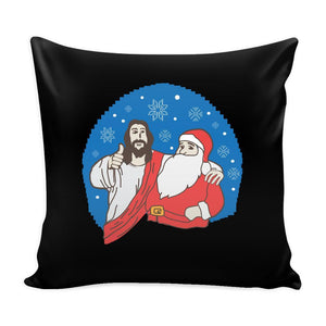 Cool Jesus Christ & Santa Claus Funny Festive Ugly Christmas Holiday Sweater Decorative Throw Pillow Cases Cover(4 Colors)-Pillows-Black-JoyHip.Com