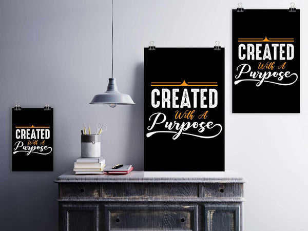 Created With A Purpose Christian Poster Wall Art Room Decor Gift Idea Religious-Posters 2-JoyHip.Com