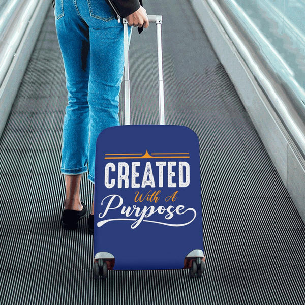 Created With A Purpose Christian Travel Luggage Cover Suitcase Protector-JoyHip.Com