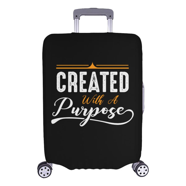 Created With A Purpose Christian Travel Luggage Cover Suitcase Protector-L-Black-JoyHip.Com