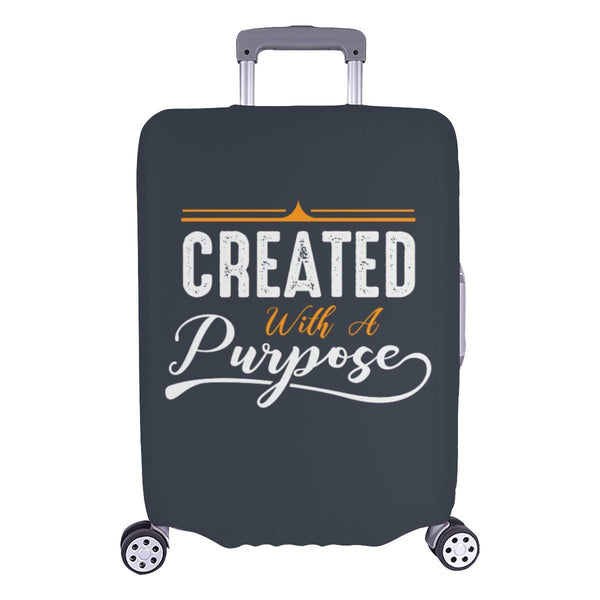 Created With A Purpose Christian Travel Luggage Cover Suitcase Protector-L-Grey-JoyHip.Com