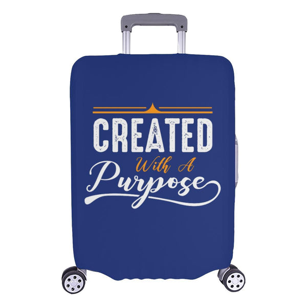 Created With A Purpose Christian Travel Luggage Cover Suitcase Protector-L-Navy-JoyHip.Com