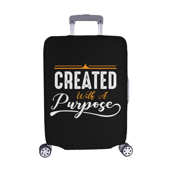 Created With A Purpose Christian Travel Luggage Cover Suitcase Protector-M-Black-JoyHip.Com