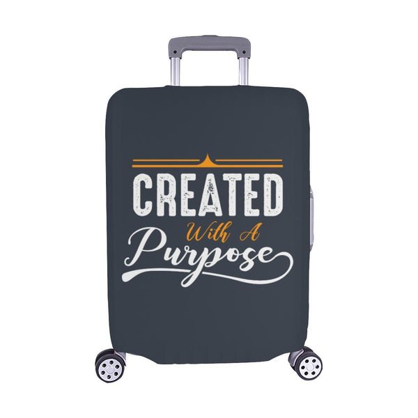 Created With A Purpose Christian Travel Luggage Cover Suitcase Protector-M-Grey-JoyHip.Com