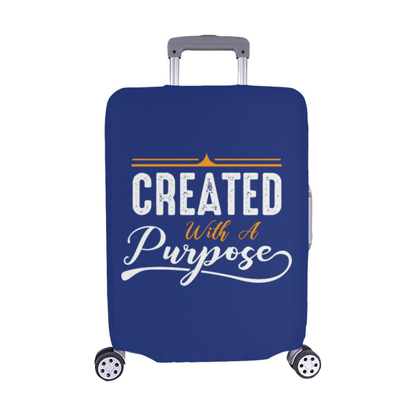 Created With A Purpose Christian Travel Luggage Cover Suitcase Protector-M-Navy-JoyHip.Com